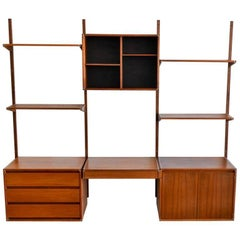 Walnut Three-Section Wall Unit by Barzilay, circa 1970