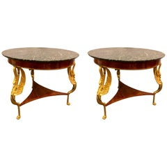 Pair of Hollywood Regency Style 19th-20th Century Marble-Top Gilt Swan Tables