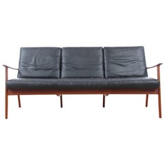 Danish Mid-Century Modern Sofa Three-Seats by Ole Wanscher for Paul Jepesen