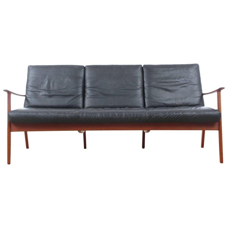 Danish Mid-Century Modern Sofa Three-Seats by Ole Wanscher for Paul Jepesen