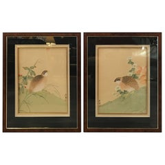Pair of Antique Japanese Paintings on Silk