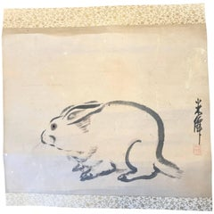Japan Antique Early Rabbit Scroll, Sumi Ink Colors, Hand-Painted and Signed