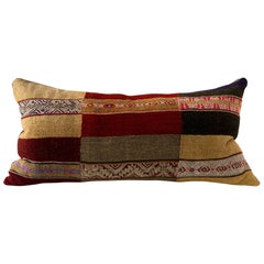 Vintage Andean Textile Cushion Reds Ochres Greens and Browns