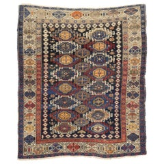 Antique Caucasian Kazak Rug with Rustic Tribal Style, Square Rug