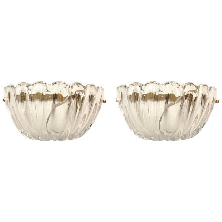 """Pair of Italian 1960s Venetian Murano """"Sommerso"""" Clear Glass Wall Sconces"""