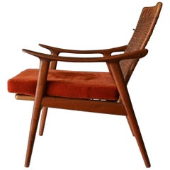 Teak and Cane Lounge Chair Model 571 by Fredrik Kayser, Norway, circa 1960