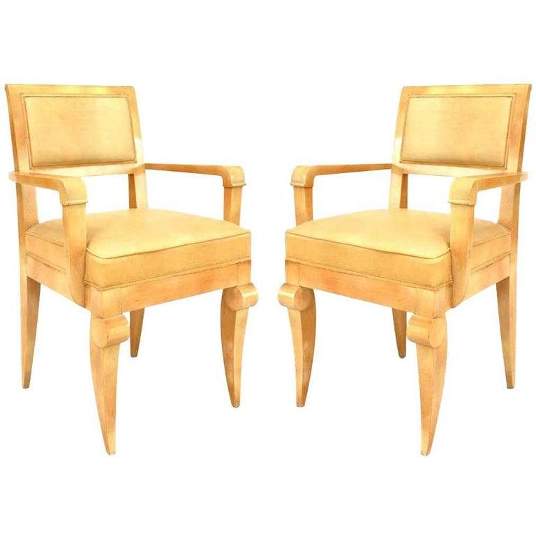 Pair of French 1940s Sycamore Armchairs