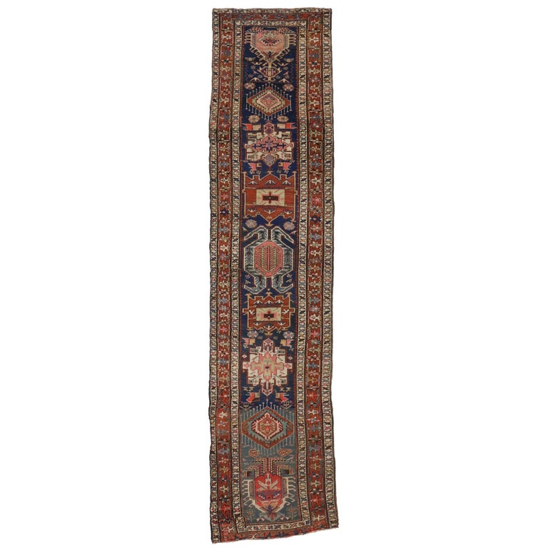 Antique Caucasian Kazak Tribal Runner with Lenkoran Amulet, Hallway Runner