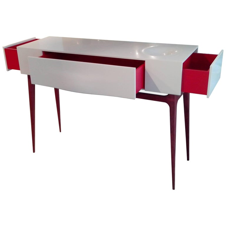 Console by Paul-Bertrand Matthieu in Corian and Amarante