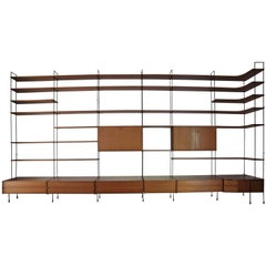 Modular Wall Unit Shelving System in Teak by Hilker, 1960s, Germany
