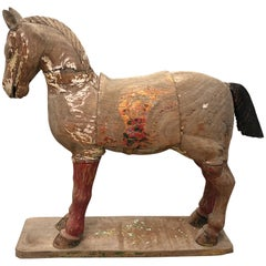 Large Eastern Carved Figure of a Standing Horse