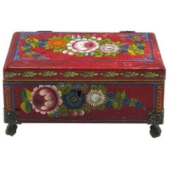 Traditional Red and Floral Hand-Painted Lacquer Box, Olinalá