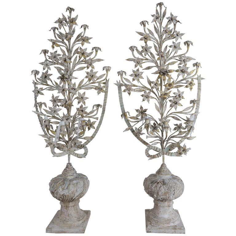 French Painted and Metal Bouquets of Flowers, Pair