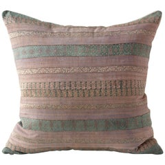 Huangping Embroidery Pillow, Pale Mauve and Green