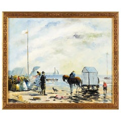 Seascape Oil Painting on Canvas by P.Denison, France Early 1900s