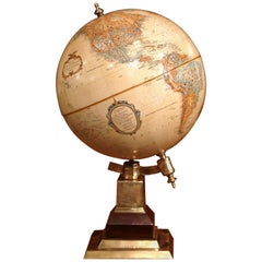 Mid-20th Century American Terrestrial Globe on Brass Base by LeRoy M. Tolman