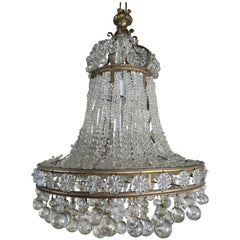 French Bronze Crystal Beaded Crown Chandelier, circa 1900s