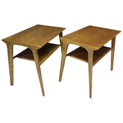 Mid-Century Modern Pair of John Van Koert for Drexel Walnut Side End Tables