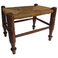 Antique Rush Seat Arts & Crafts Low Stool