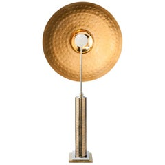 Exceptional Cymbal Table Lamp Sculpture in Brass and Bronze by F de Beauchaine