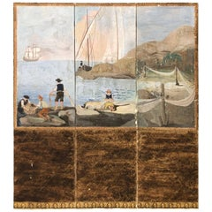 Continental Hand-Painted Three Section Folding Screen
