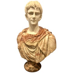 Full Colorful Marble Bust of a Young Roman