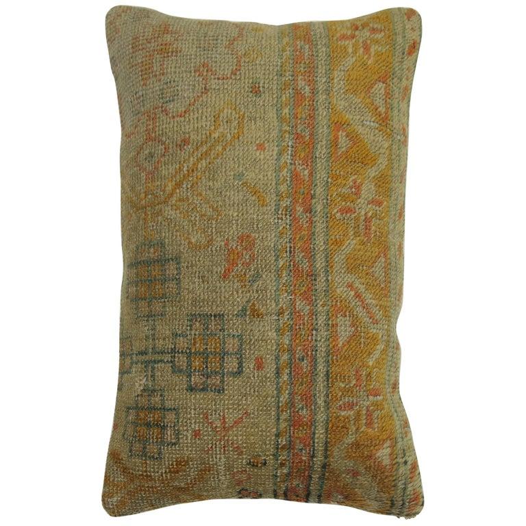Antique Orange Oushak Rug Pillow