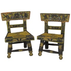 Pair of Antique Miniature Hand-Painted Folk Art Hitchcock Chairs