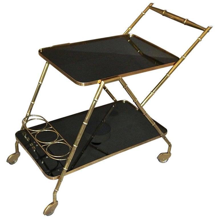Italian Brass Faux Bamboo Bar Tea Cart