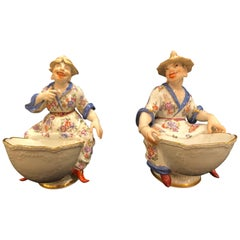Pair of Meissen Porcelain Chinoiserie Figural Sweetmeat Dishes, J.J. Kandler