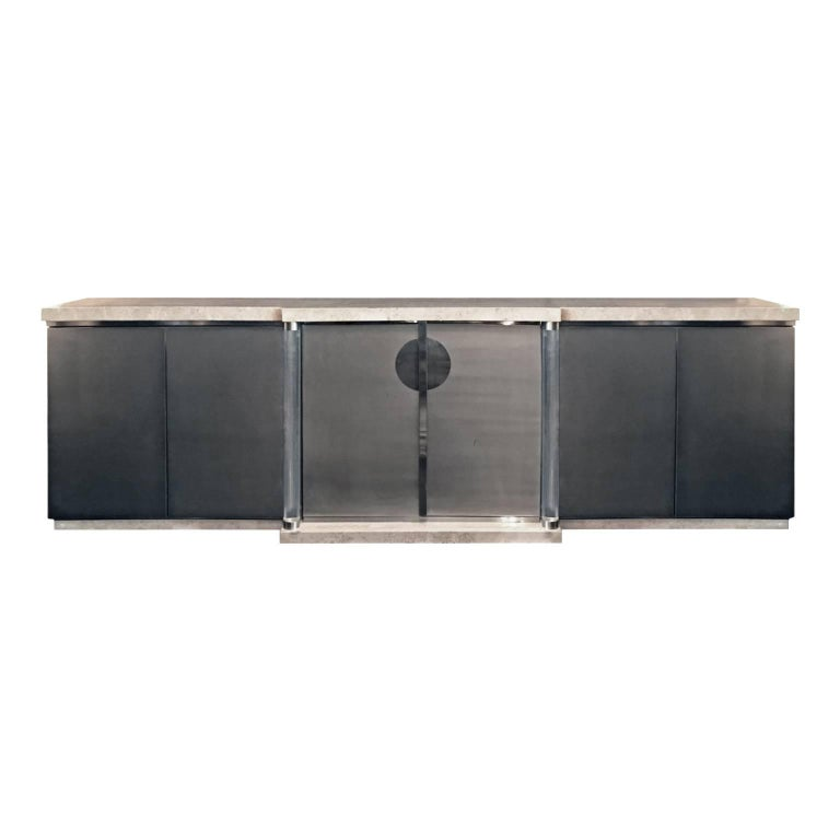 1970s Belgian Brushed Chrome and Travertine Sideboard with Lucite Columns For Sale