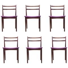 Mid-Century Modern Scandinavian Set of Six Chairs by H. Rosengren Hansen