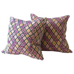 Large Vintage Zhuang Cushion in Violets and Tans