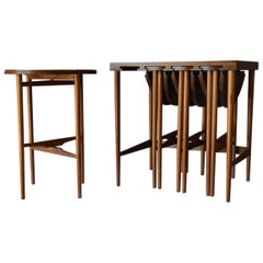 Bertha Schaefer for Singer and Sons Walnut Nesting Tables, circa 1955