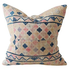 Zhuang Piecework Cushion in Pinks with Accents of Indigo