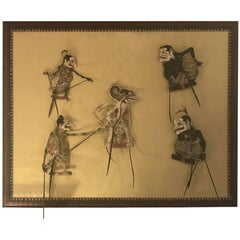 Large 3d Work Framed of Five Puppets