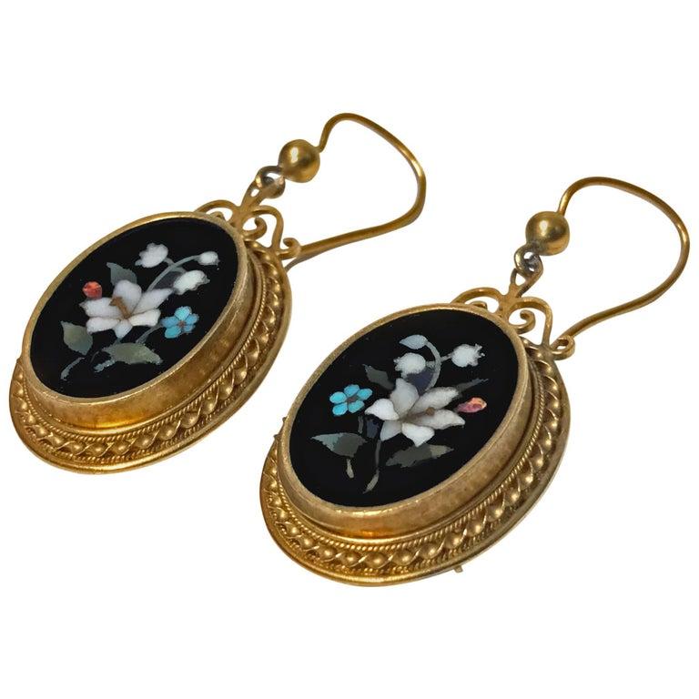 Antique 18-Karat Pietra Dura Earrings, circa 1875