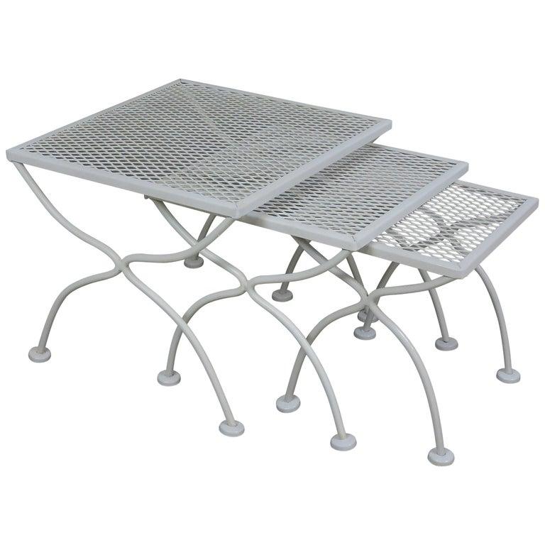 Salterini Mid-Century Modern Wrought Iron Patio Nesting Tables