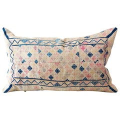 Vintage Zhuang Piecework Cushion in Pinks with Accents of Indigo, Large