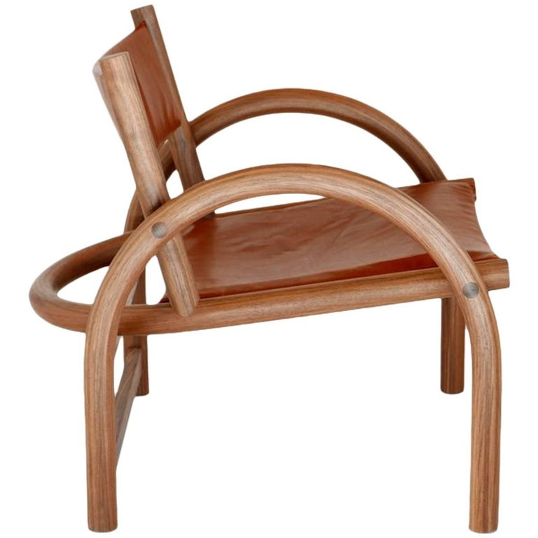 Shepherd's Chair in Solid Bent American Black Walnut and Veg Tanned Leather