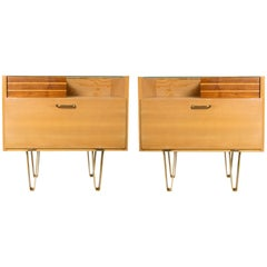 Pair of Scandinavian Modern Nightstands in Elmwood and Teak.