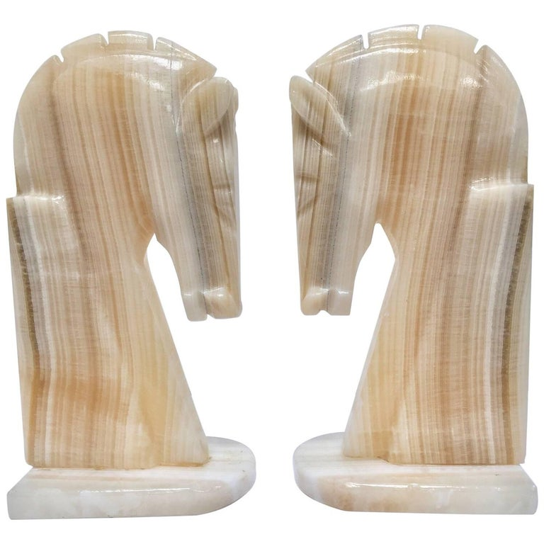 Pair of Art Deco Onyx Horses Heads Bookends
