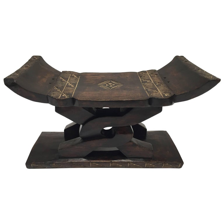 African Tribal Wooden Stool from Ghana