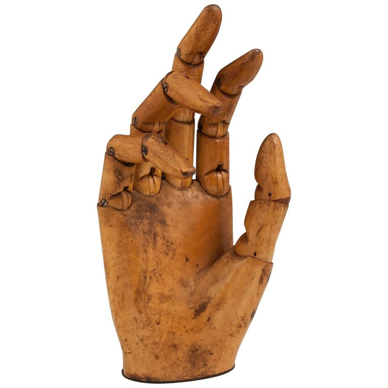 Late 19th Century Carved Wood Articulated Mannequin Hand