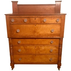 American Empire Chest of Drawers circa 1840 in Tiger Maple and Cherry
