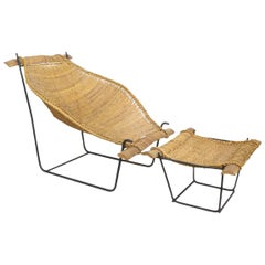 John Risley Rattan and Iron Sling Chair with Ottoman
