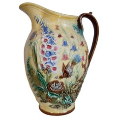 19th Century Majolica Bird and Foxgloves Pitcher Sarreguemines