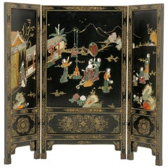 Chinese Black Lacquer and Carved Hardstone Screen