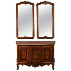 Continental Style Hand-Painted and Gilt Sideboard Set by Drexel Heritage