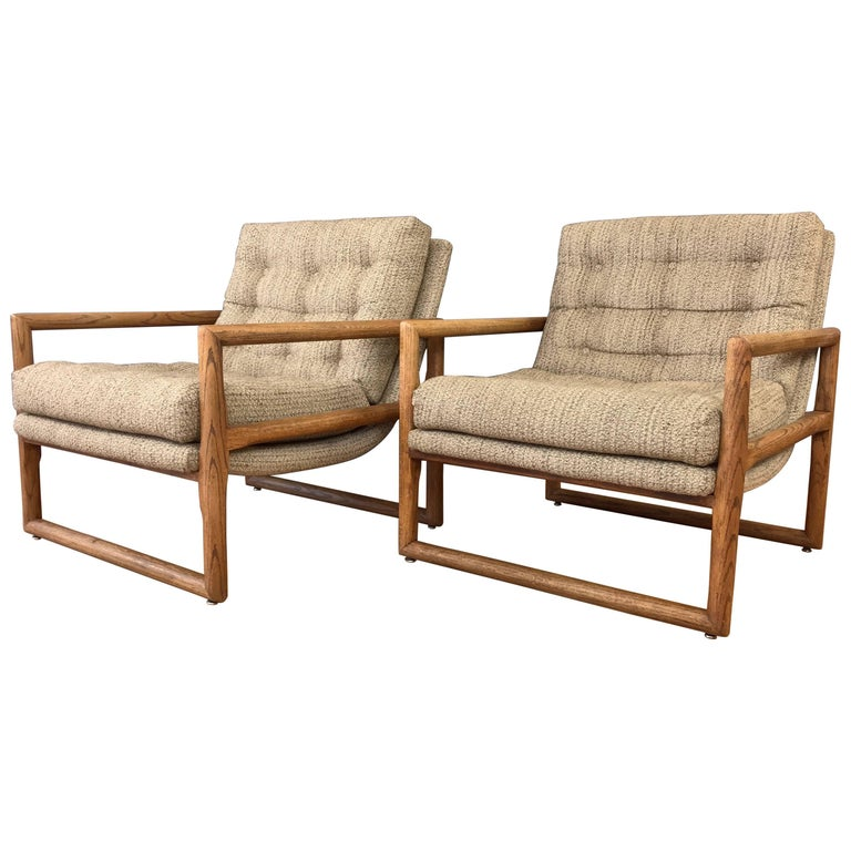 """Pair of Milo Baughman for Thayer Coggin Oak """"Scoop"""" Lounge Chairs"""